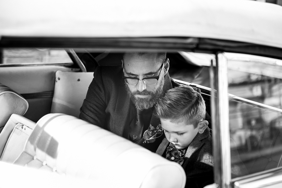 father son in car