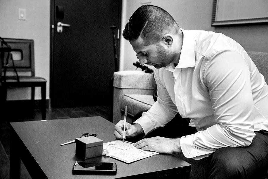 groom writing note