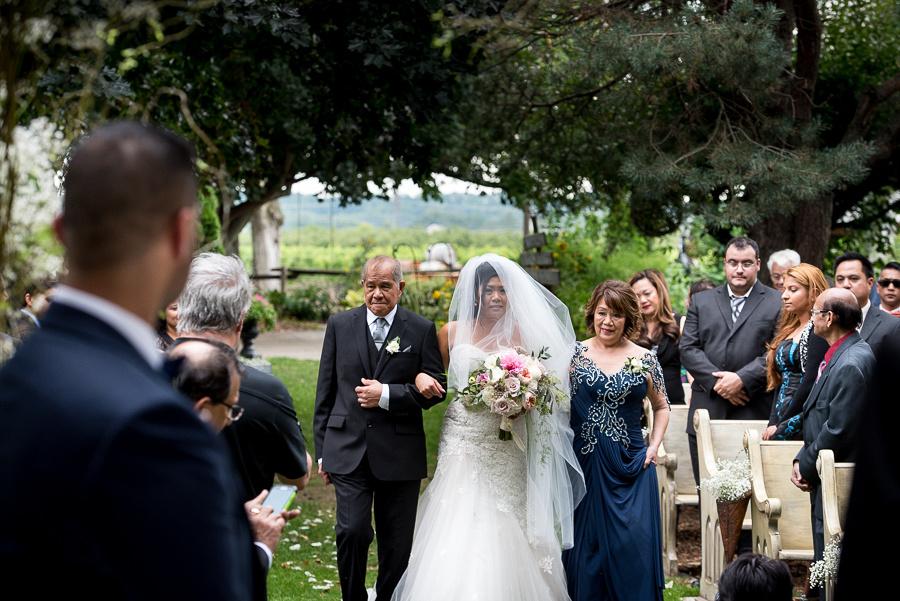 bride up aisle