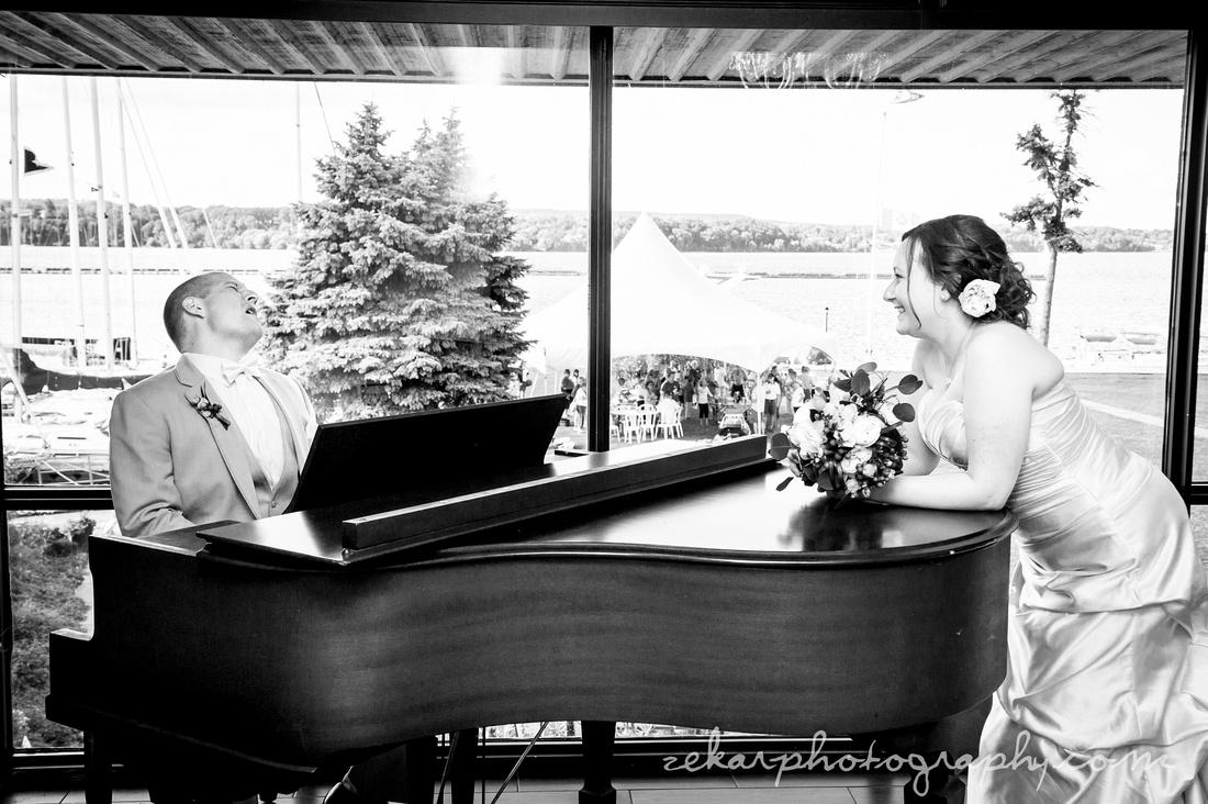 groom sernading bride with piano