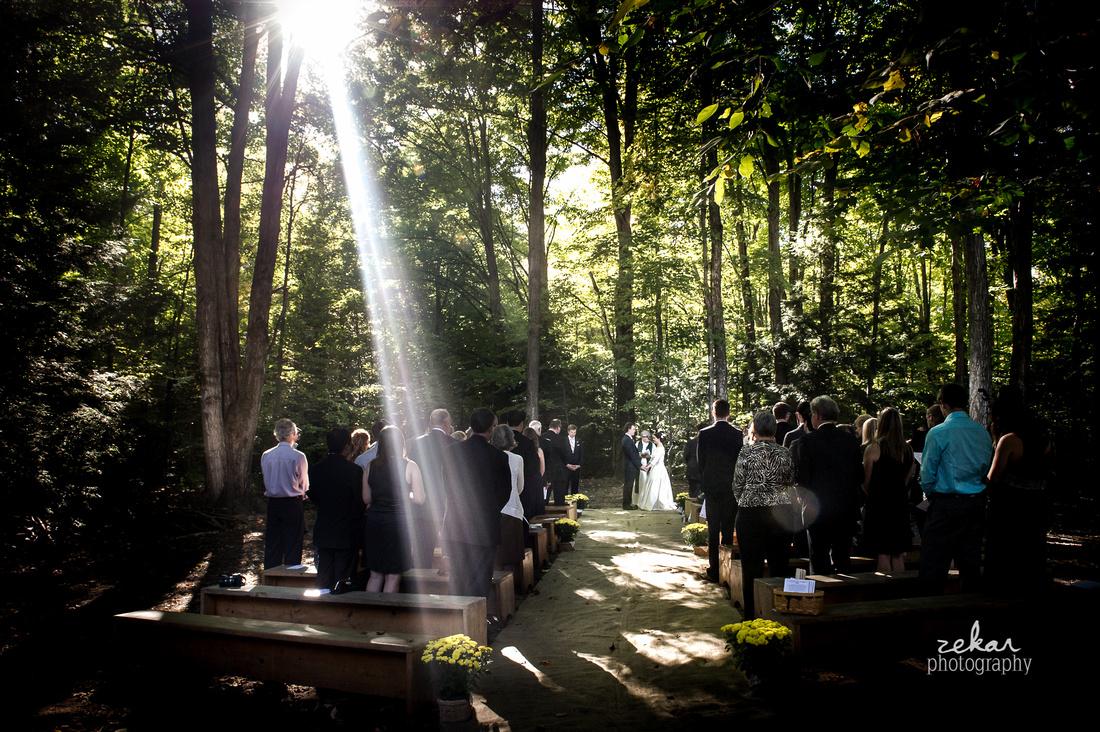 light beam wedding altar