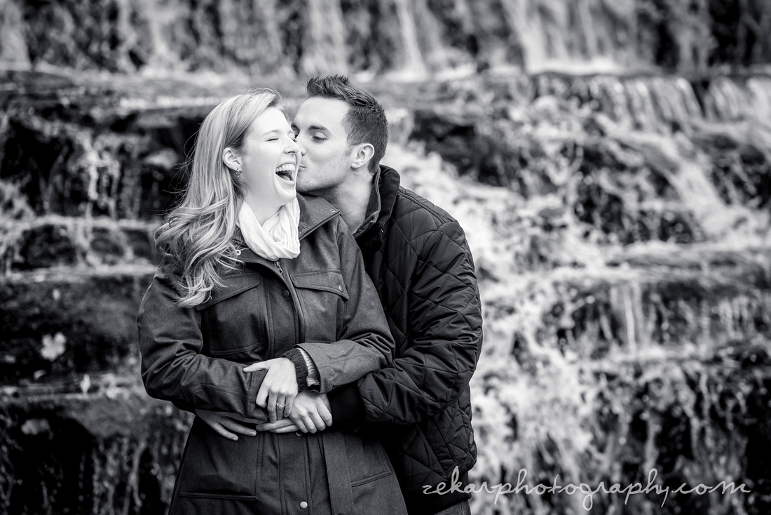 black and white engagement shoot photo waterfalls