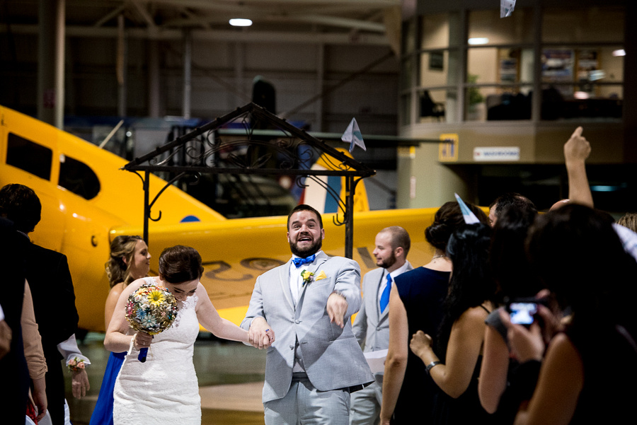 airplane themed wedding ceremony