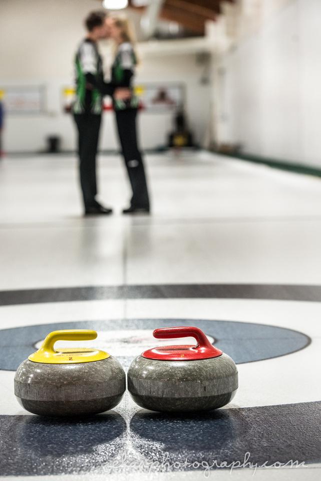 curling themed wedding photos