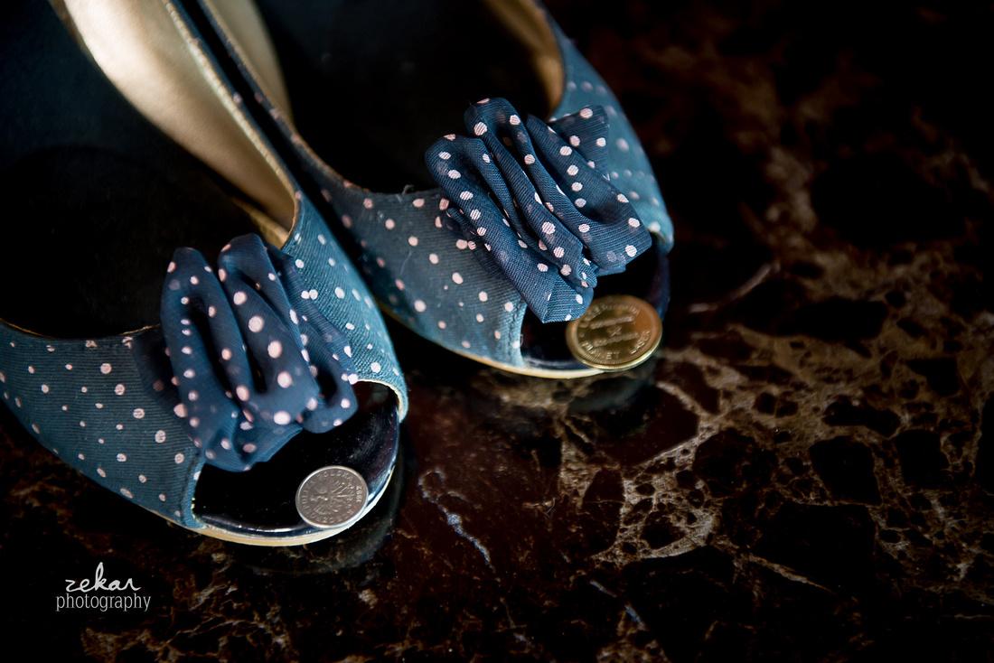 bride blue shoes