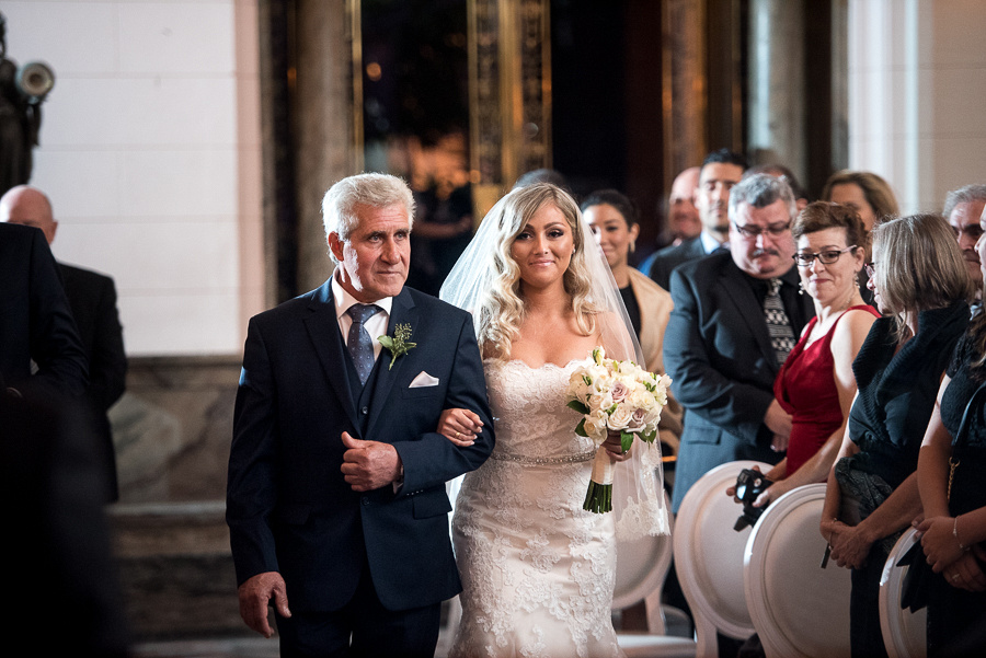 father giving away bride