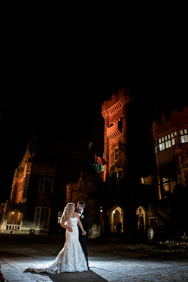 couple at castle at night