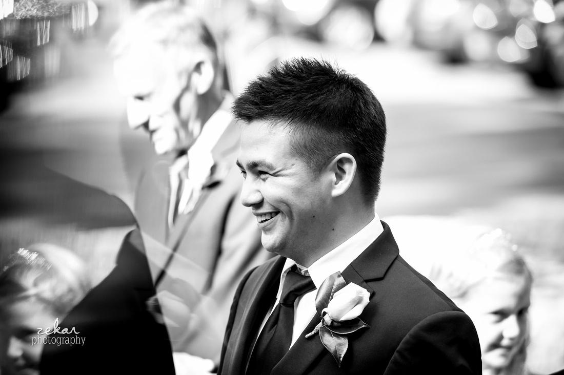black and white photo groomsman