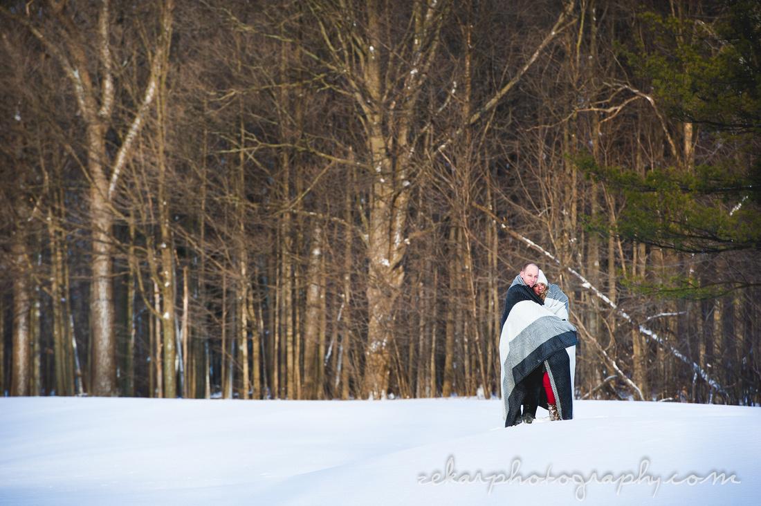 couple engagement shoot snow