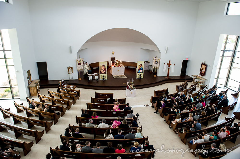 aerial shot of church audience