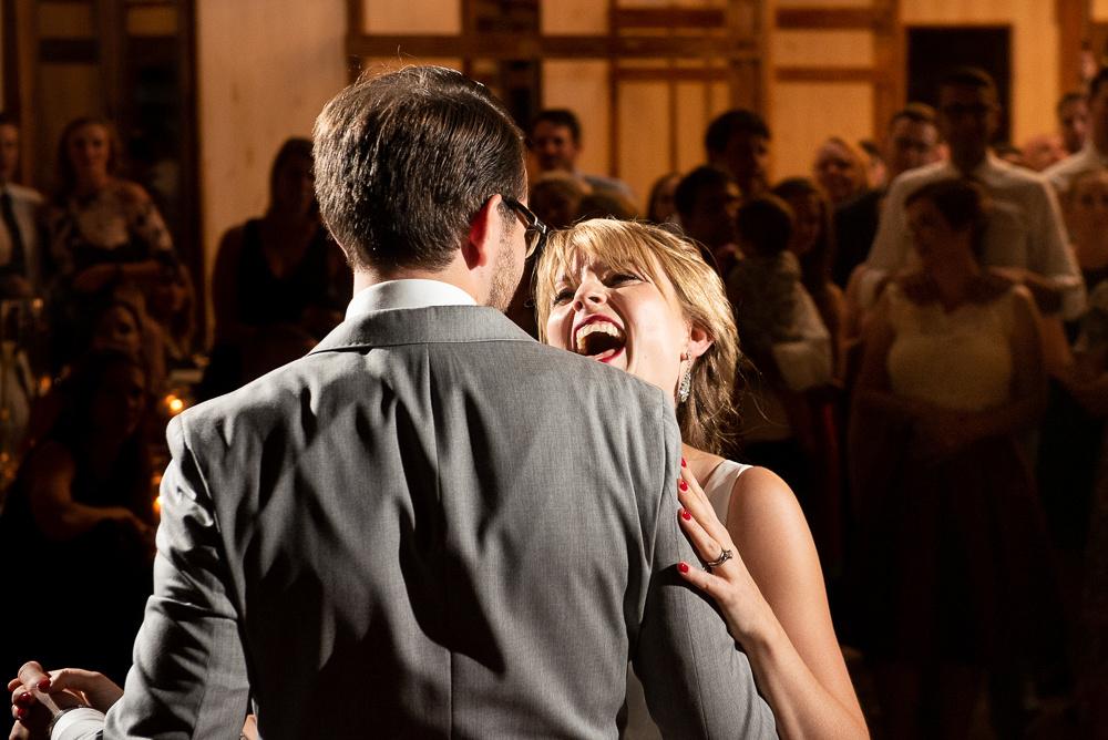happy bride at wedding reception