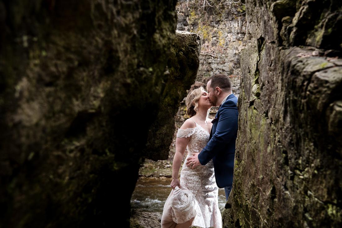elora gorge wedding couple