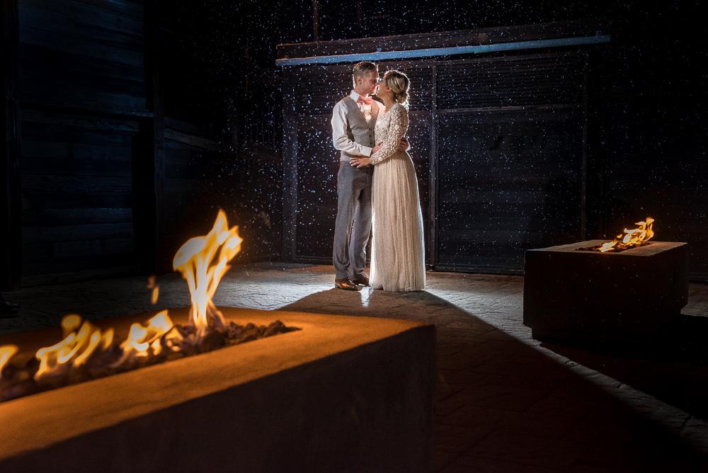 cozy fireplace winter wedding