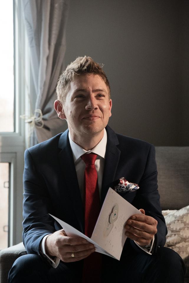 Groom getting ready wedding day