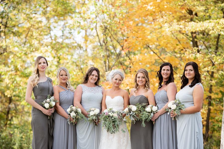 gray palette bridesmaids