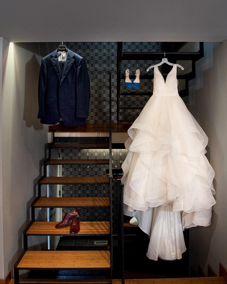 bride and groom wedding dress suit