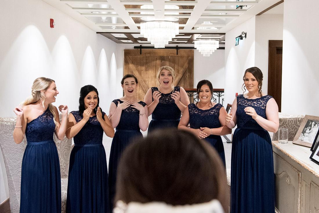 bride getting ready bridesmaids reaction
