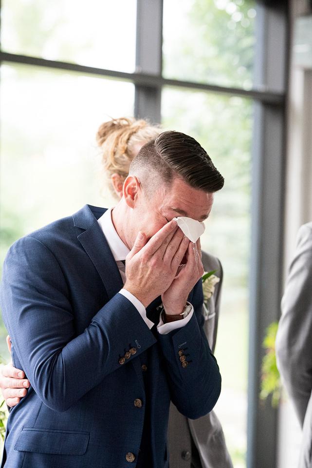 emotional groom reaction