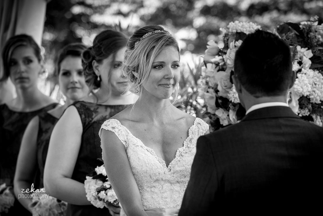 smiling bride at altar