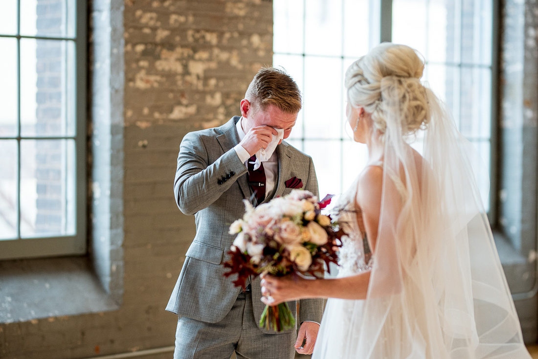 bride and groom first looks