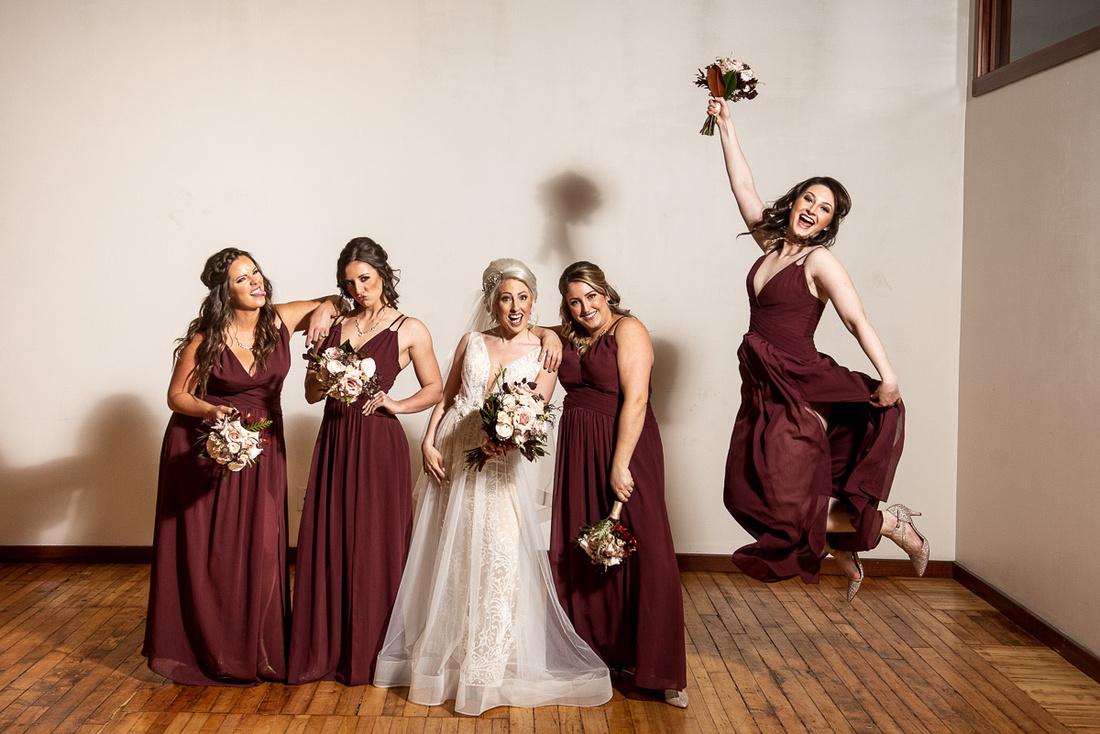 bridal party portraits burgundy bridesmaids dresses