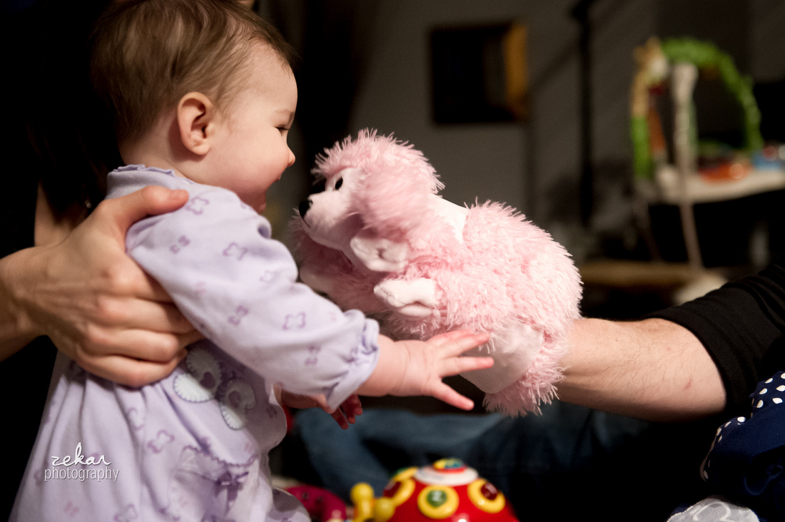 documentary family photoshoot baby playing with puppet
