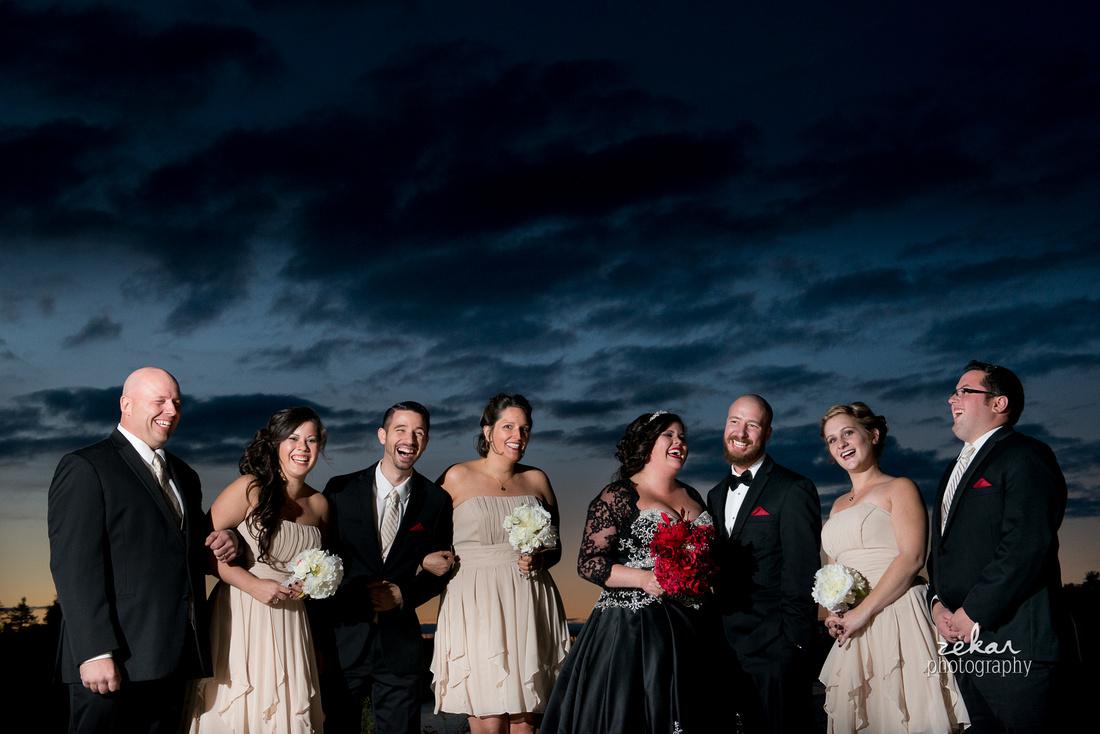 bridal party portrait night time
