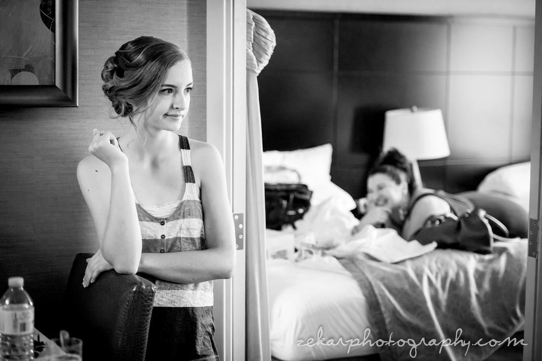 friend watching bride get ready