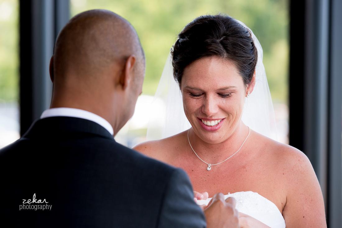 bride crying at altar