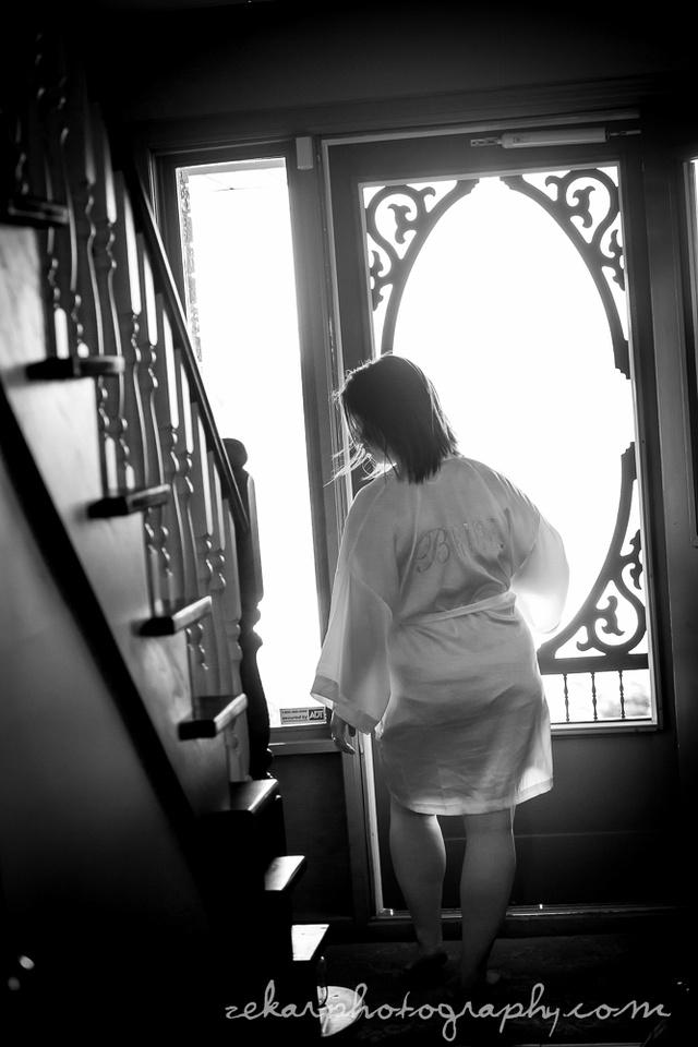 bride in housecoat
