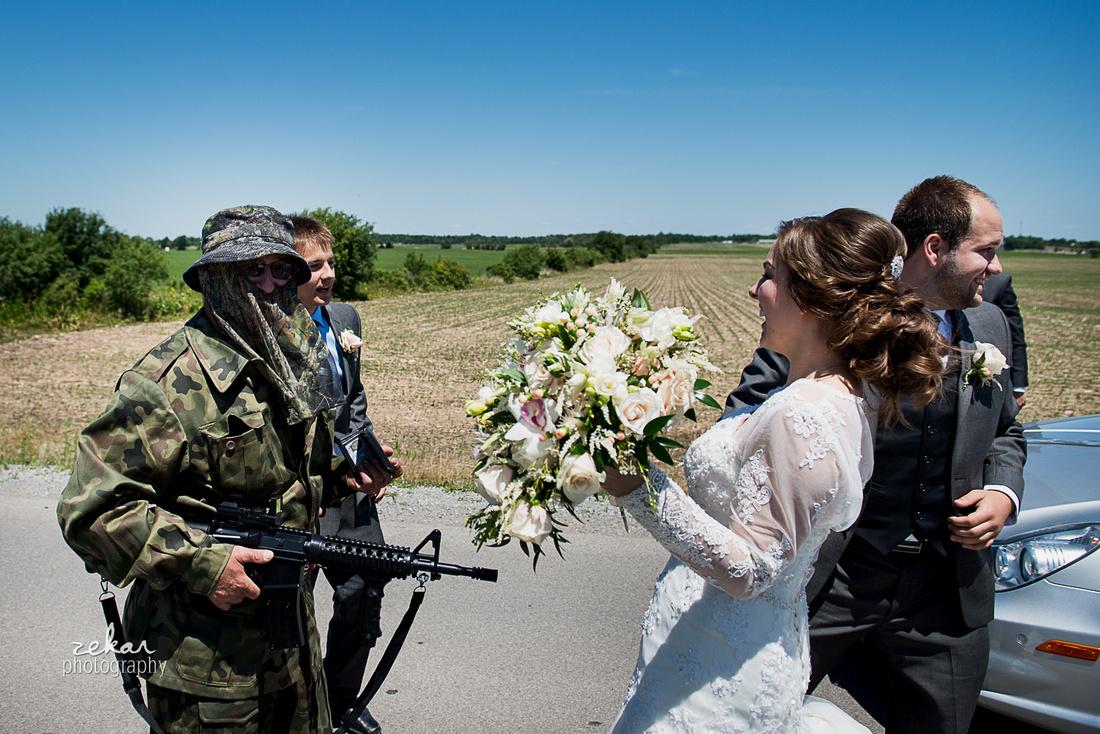 bride and groom meeting army