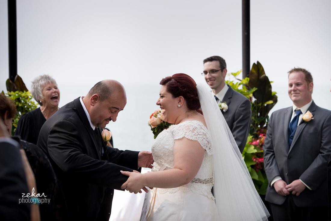 father steps on brides dress