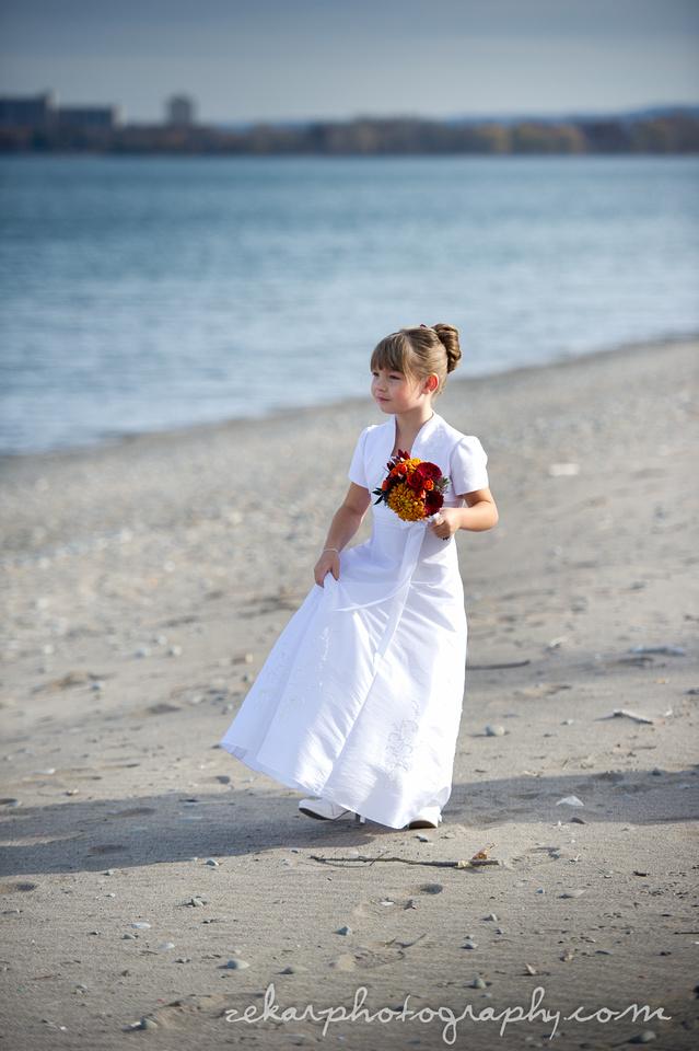flower girl on beach
