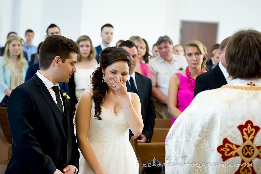 bride giggling at groom