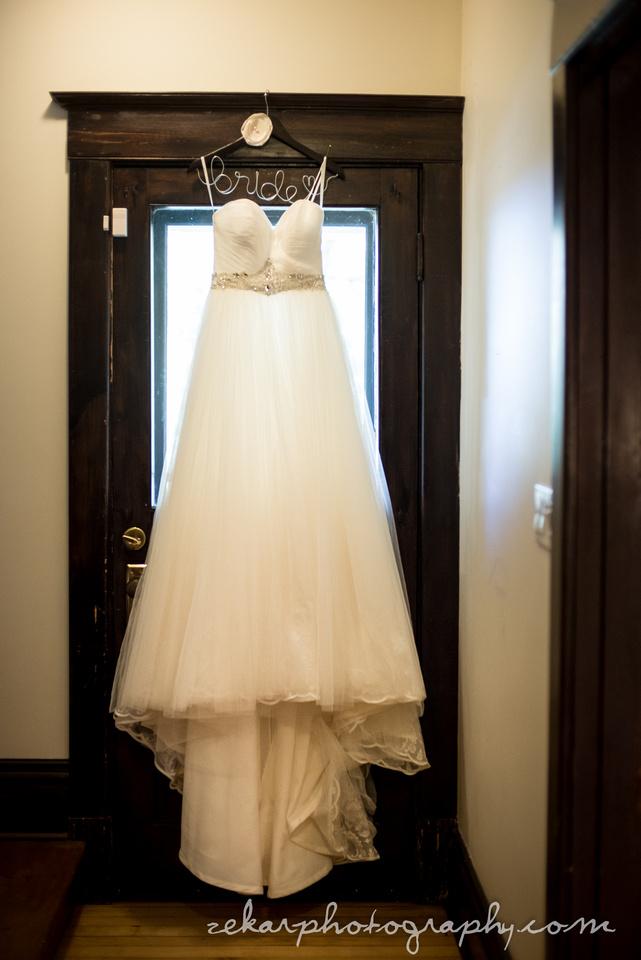 wedding dress in door