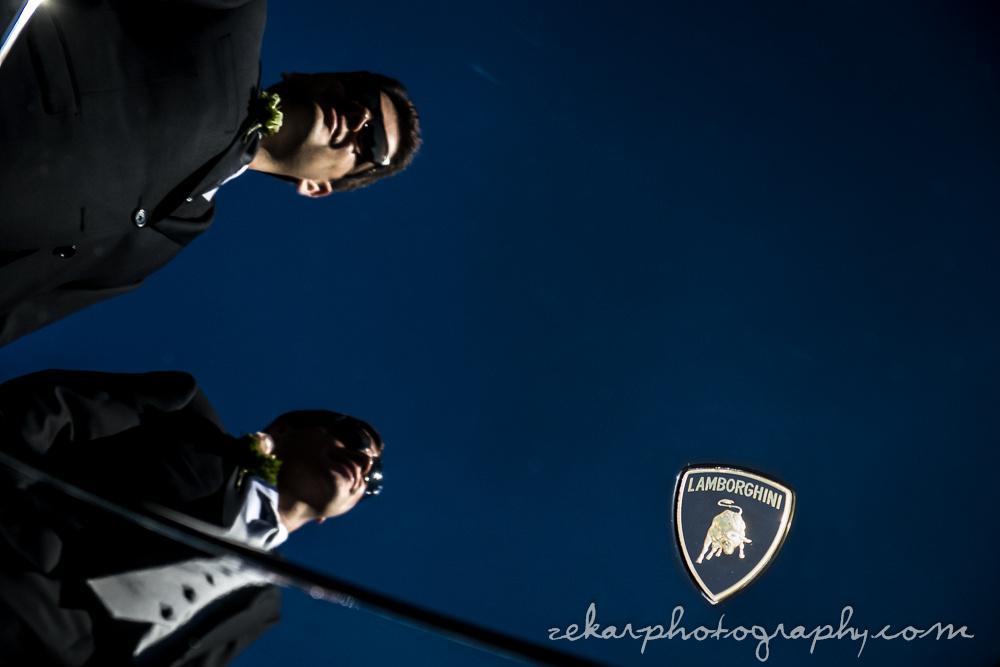 groomsmen reflection in lamborghini hood