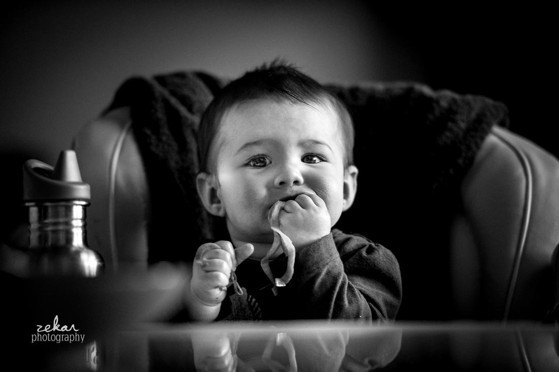 baby eating dinner