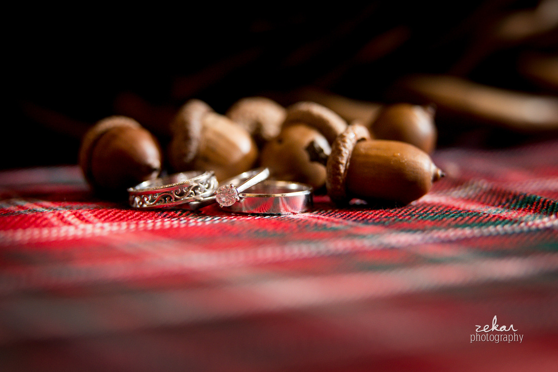 wedding rings on tartan acorns