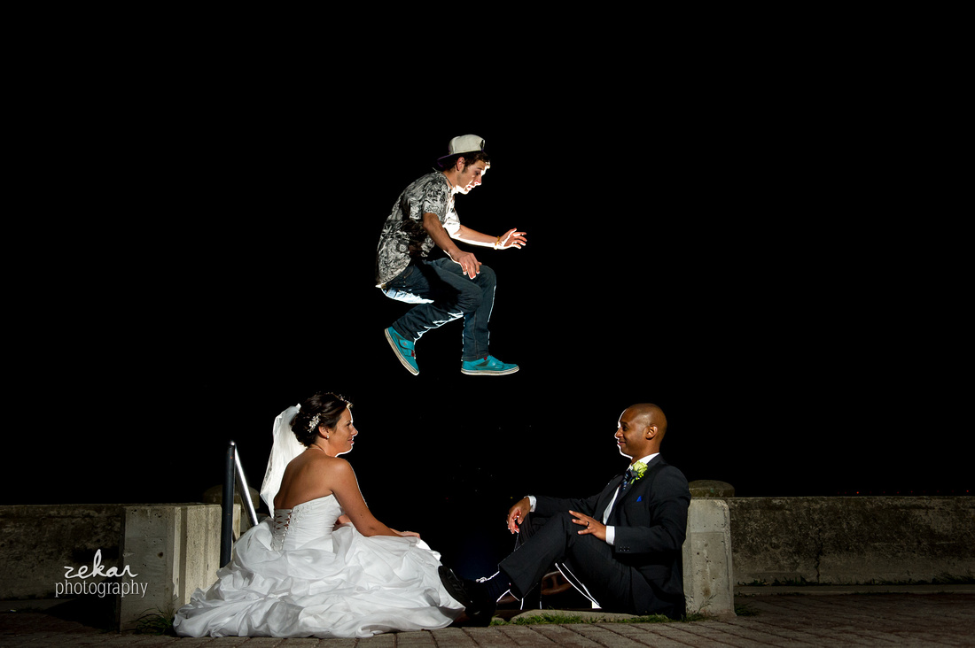 bride and groom parkour