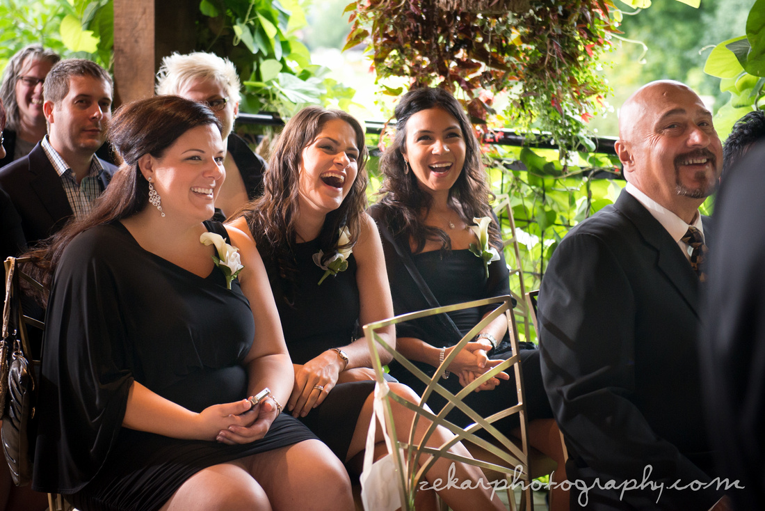 friends laughing at ceremony
