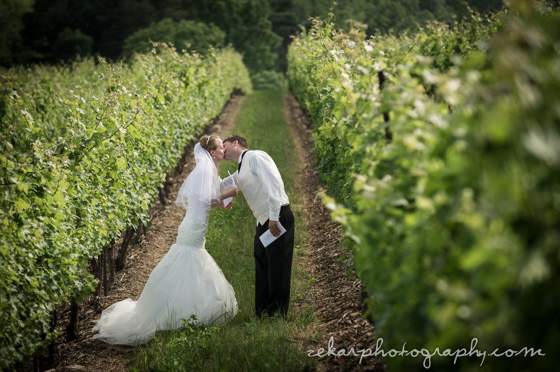 bride and groom kissing in vineyard