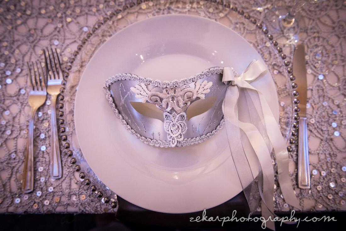 silver place settings wedding decor