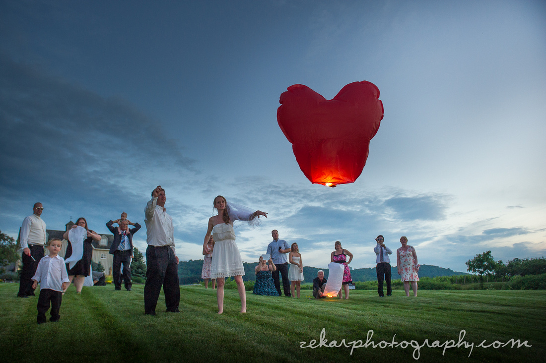 bride and groom heart chinese lanterns