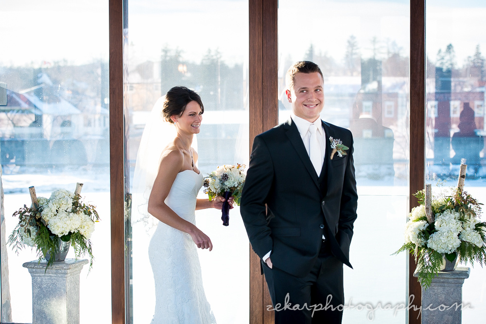 groom turning around to see bride at first look
