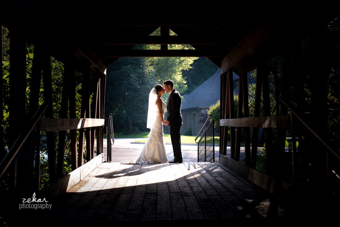 covered bridge bride and groom