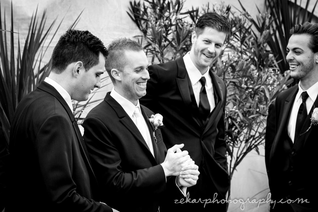 groomsmen laughing