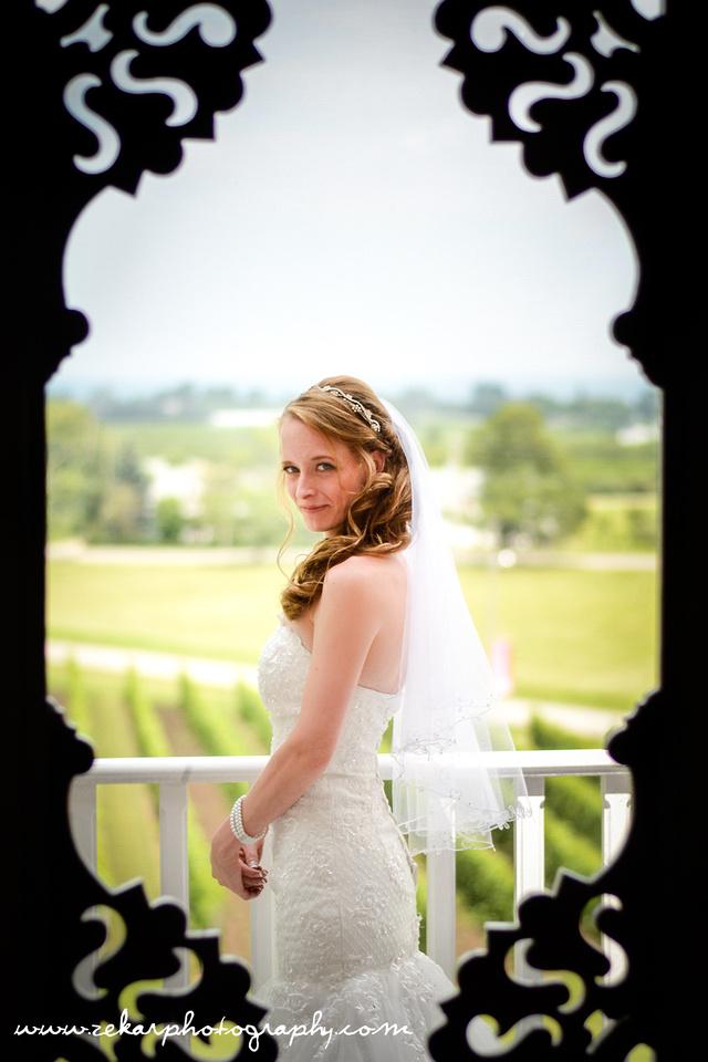 bridal portrait through screen door