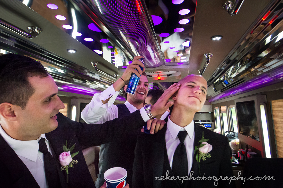 groom getting hairspray
