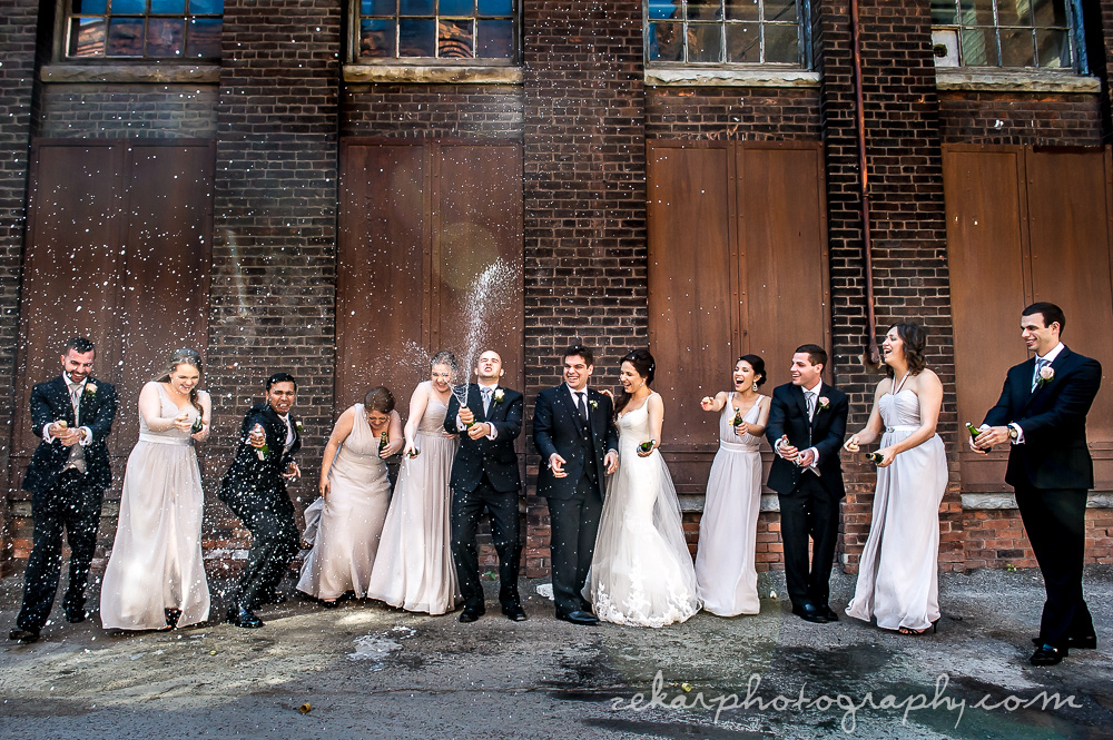 bridal party champagne spray
