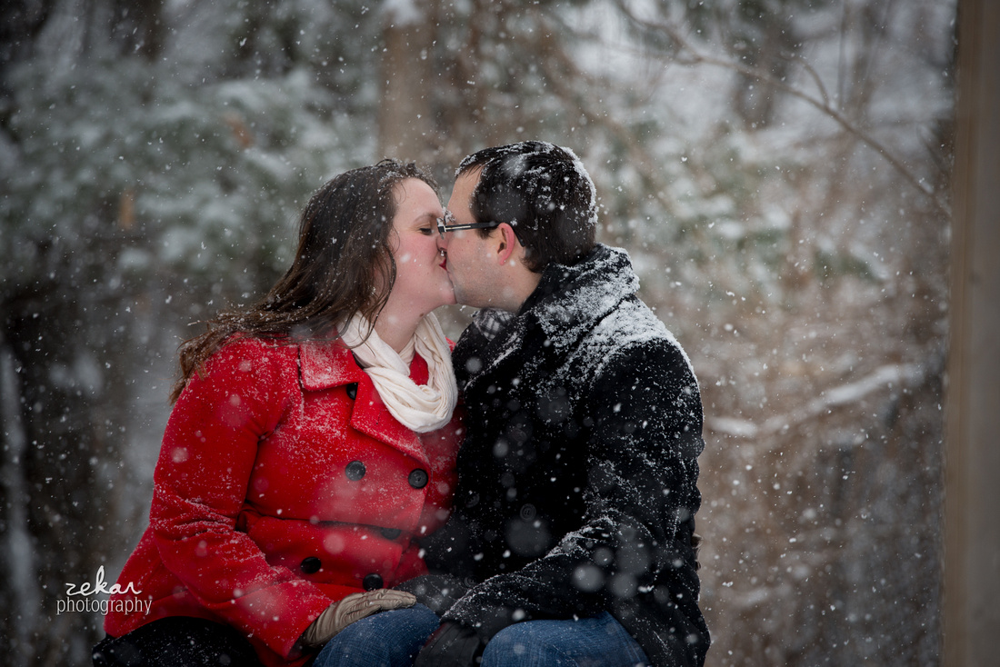 snowy engagement shoot